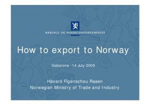 How to export to Norway