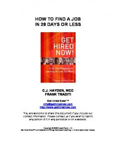 HOW TO FIND A JOB IN 28 DAYS OR LESS
