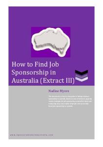 How to Find Job Sponsorship in Australia (Extract III)