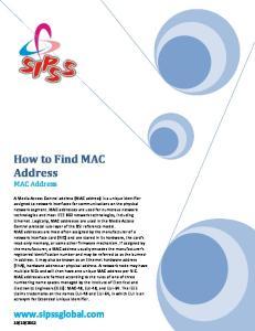 How to Find MAC Address MAC Address