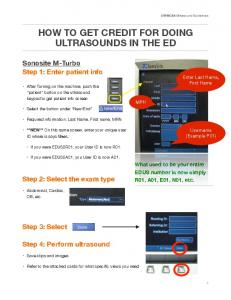 HOW TO GET CREDIT FOR DOING ULTRASOUNDS IN THE ED