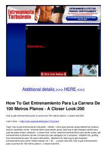 How To Get Entrenamiento Para La Carrera De 100 Metros Planos - A Closer Look:200