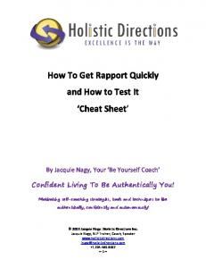 How To Get Rapport Quickly and How to Test It Cheat Sheet