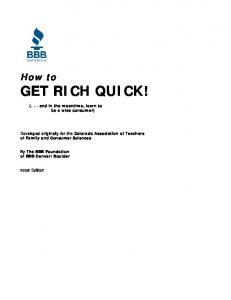 How to GET RICH QUICK!