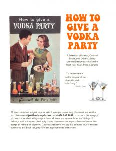 HOW TO GIVE A VODKA PARTY