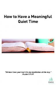 How to Have a Meaningful Quiet Time