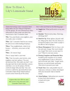 How To Host A Lily s Lemonade Stand