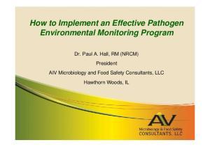 How to Implement an Effective Pathogen Environmental Monitoring Program
