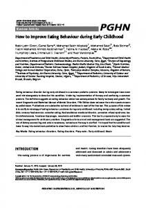 How to Improve Eating Behaviour during Early Childhood
