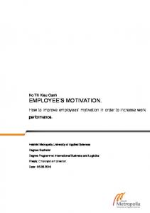 How to improve employees motivation in order to increase work performance