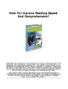 How To Improve Reading Speed And Comprehension!