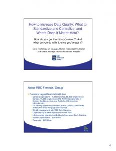 How to increase Data Quality: What to Standardize and Centralize, and Where Does it Matter Most?