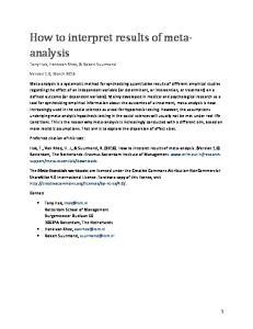 How to interpret results of metaanalysis