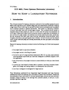 How to Keep a Laboratory Notebook