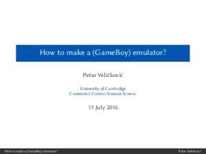 How to make a (GameBoy) emulator?