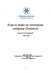 How to make an innovative company Cleantech