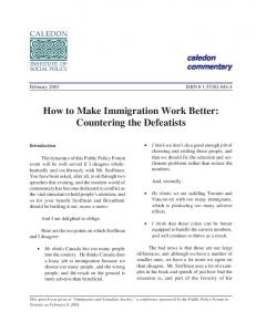 How to Make Immigration Work Better: Countering the Defeatists