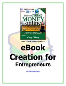 How To Make Money Online ebook Creation for Entrepreneurs