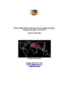 How to Make Money Raising Coturnix (Japanese) Quail. Raising Coturnix Quail For Fun & Profit!