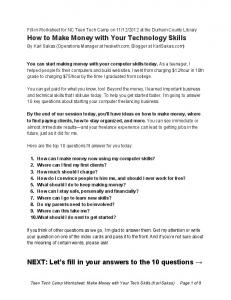How to Make Money with Your Technology Skills