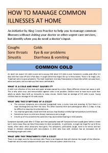 HOW TO MANAGE COMMON ILLNESSES AT HOME