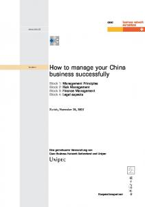 How to manage your China business successfully