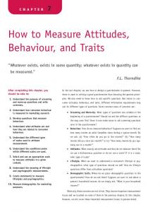 How to Measure Attitudes, Behaviour, and Traits