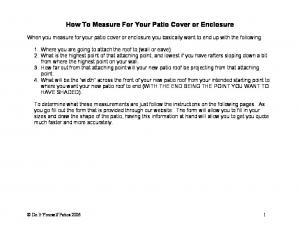 How To Measure For Your Patio Cover or Enclosure