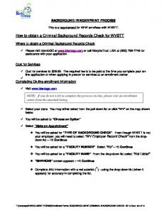 How to obtain a Criminal Background Records Check for WVBTT
