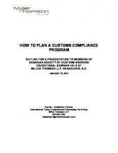 HOW TO PLAN A CUSTOMS COMPLIANCE PROGRAM