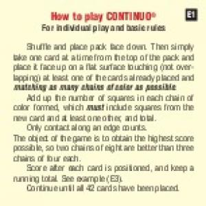 How to play CONTINUO For individual play and basic rules