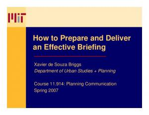 How to Prepare and Deliver an Effective Briefing
