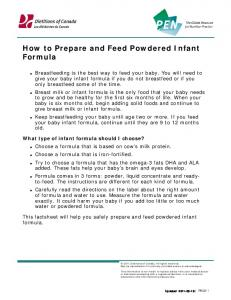 How to Prepare and Feed Powdered Infant Formula