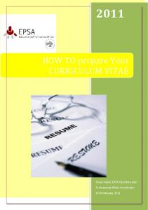 HOW TO prepare Your CURRICULUM VITAE