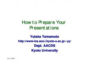 How to Prepare Your Presentations
