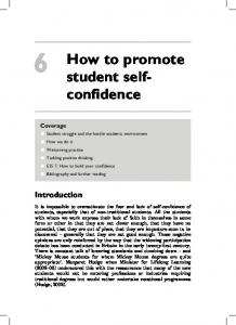 How to promote student selfconfidence