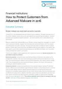 How to Protect Customers from Advanced Malware in 2016