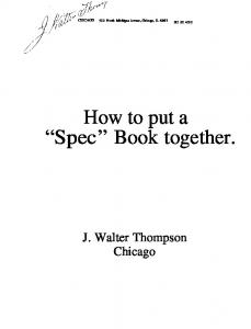 How to put a Spec Book together