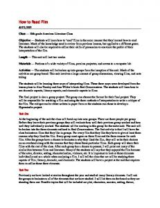 How to Read Film. Task One. Task Two JULY 3, Class 10th grade American Literature Class