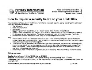 How to request a security freeze on your credit files