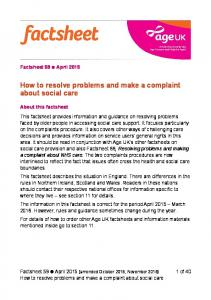 How to resolve problems and make a complaint about social care