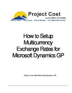 How to Setup Multicurrency Exchange Rates for Microsoft Dynamics GP