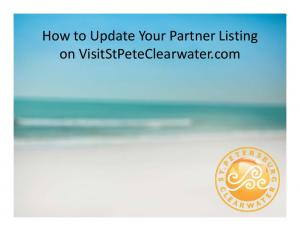 How to Update Your Partner Listing on VisitStPeteClearwater.com