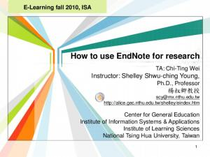How to use EndNote for research