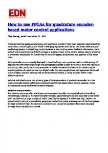 How to use FPGAs for quadrature encoderbased motor control applications