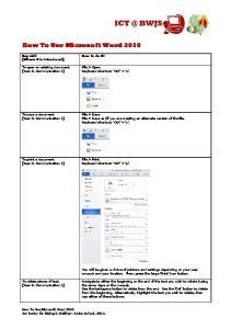 How To Use Microsoft Word 2010