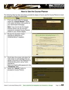 How to Use the Course Planner