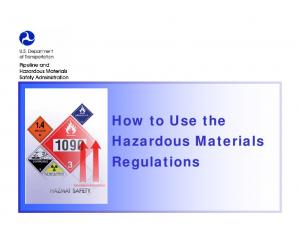 How to Use the Hazardous Materials Regulations