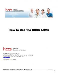 How to Use the HCCS LRMS