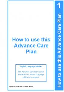 How to use this Advance Care Plan